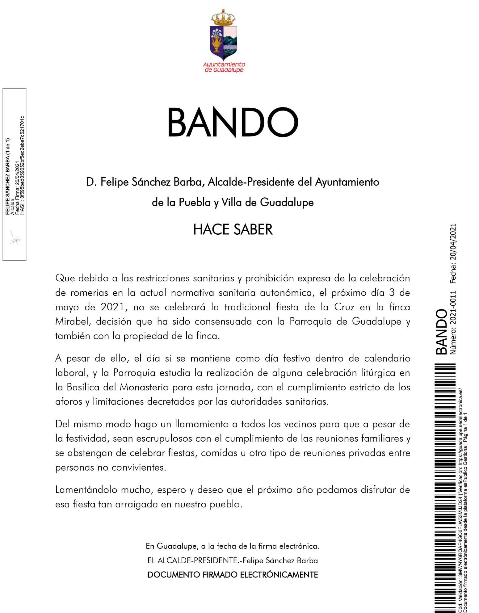 Se suspende la romería de la Cruz (2021) - Guadalupe (Cáceres)