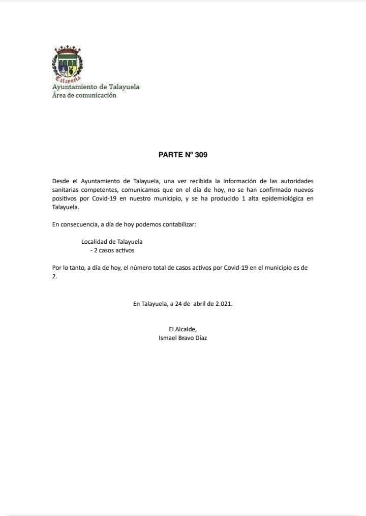 Un alta de COVID-19 (abril 2021) - Talayuela (Cáceres)