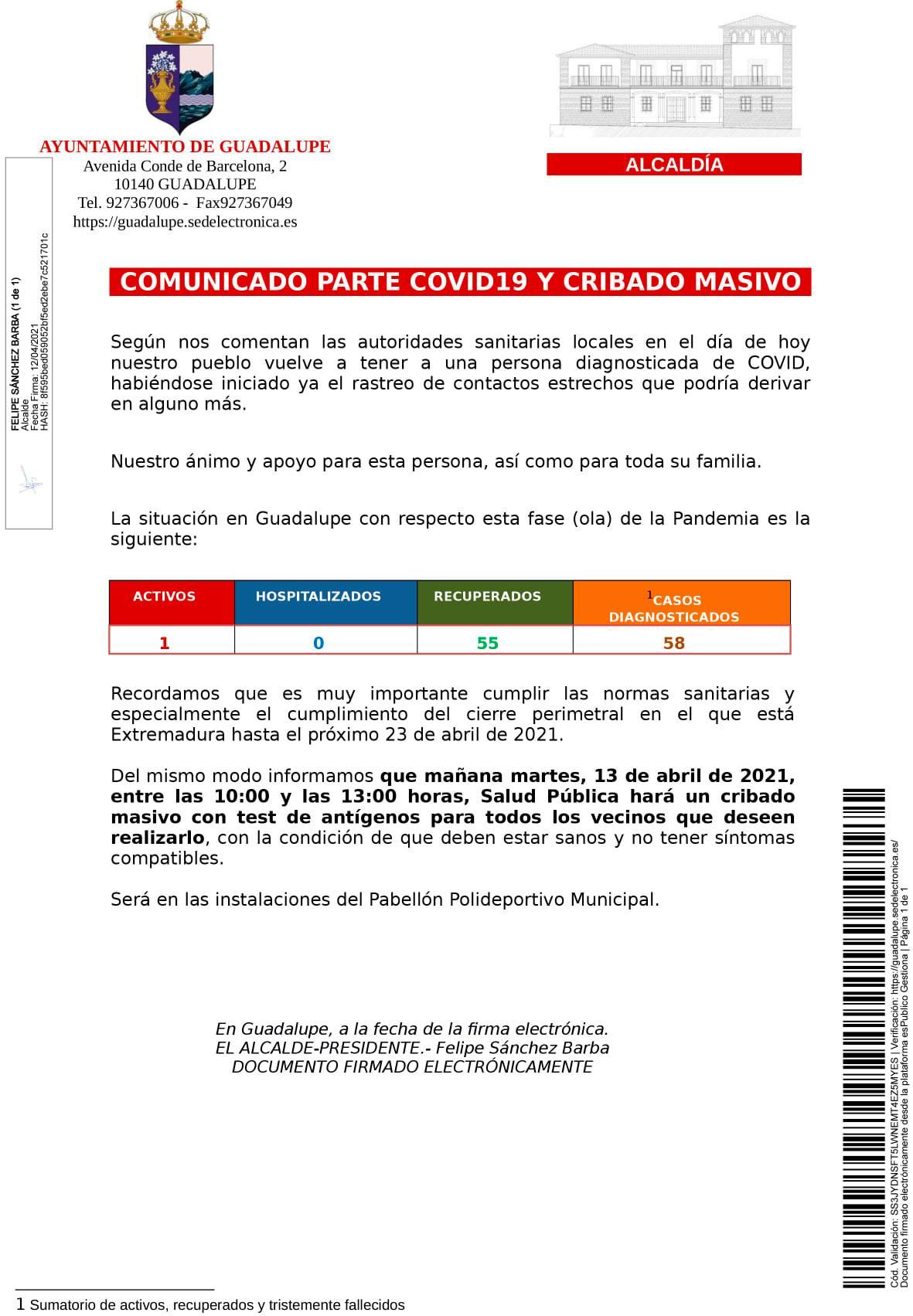 Un caso positivo de COVID-19 (abril 2021) - Guadalupe (Cáceres)