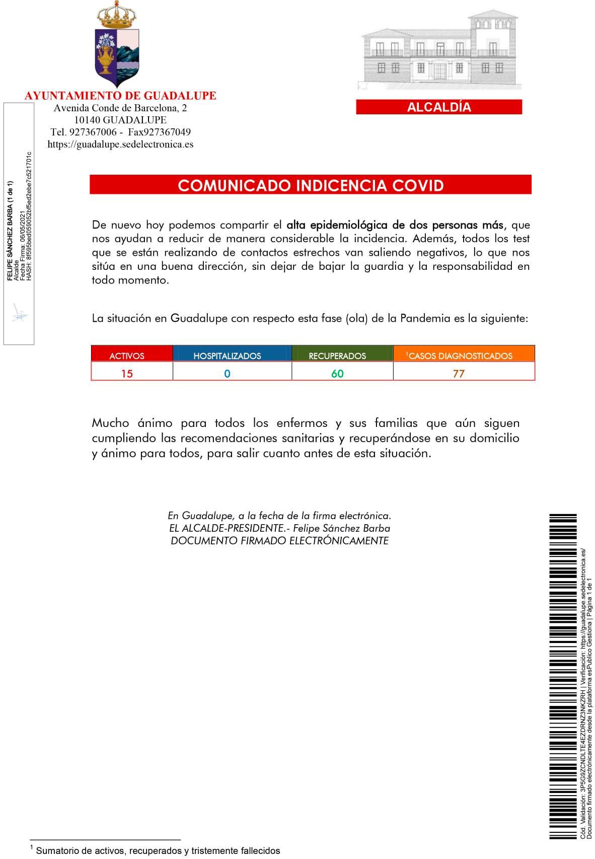 2 nuevas altas de COVID-19 (mayo 2021) - Guadalupe (Cáceres)