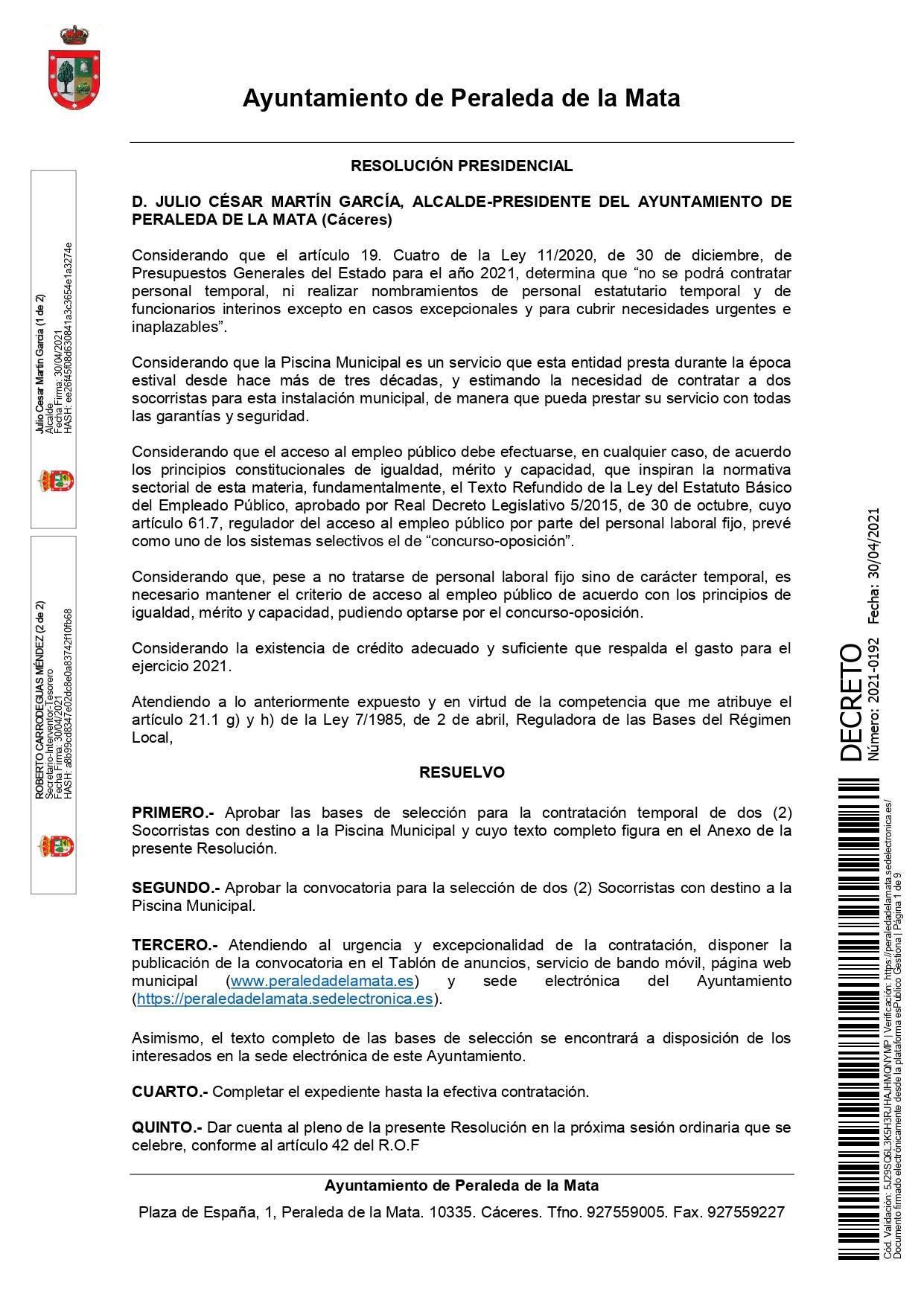 2 socorristas para la piscina municipal (2021) - Peraleda de la Mata (Cáceres) 1