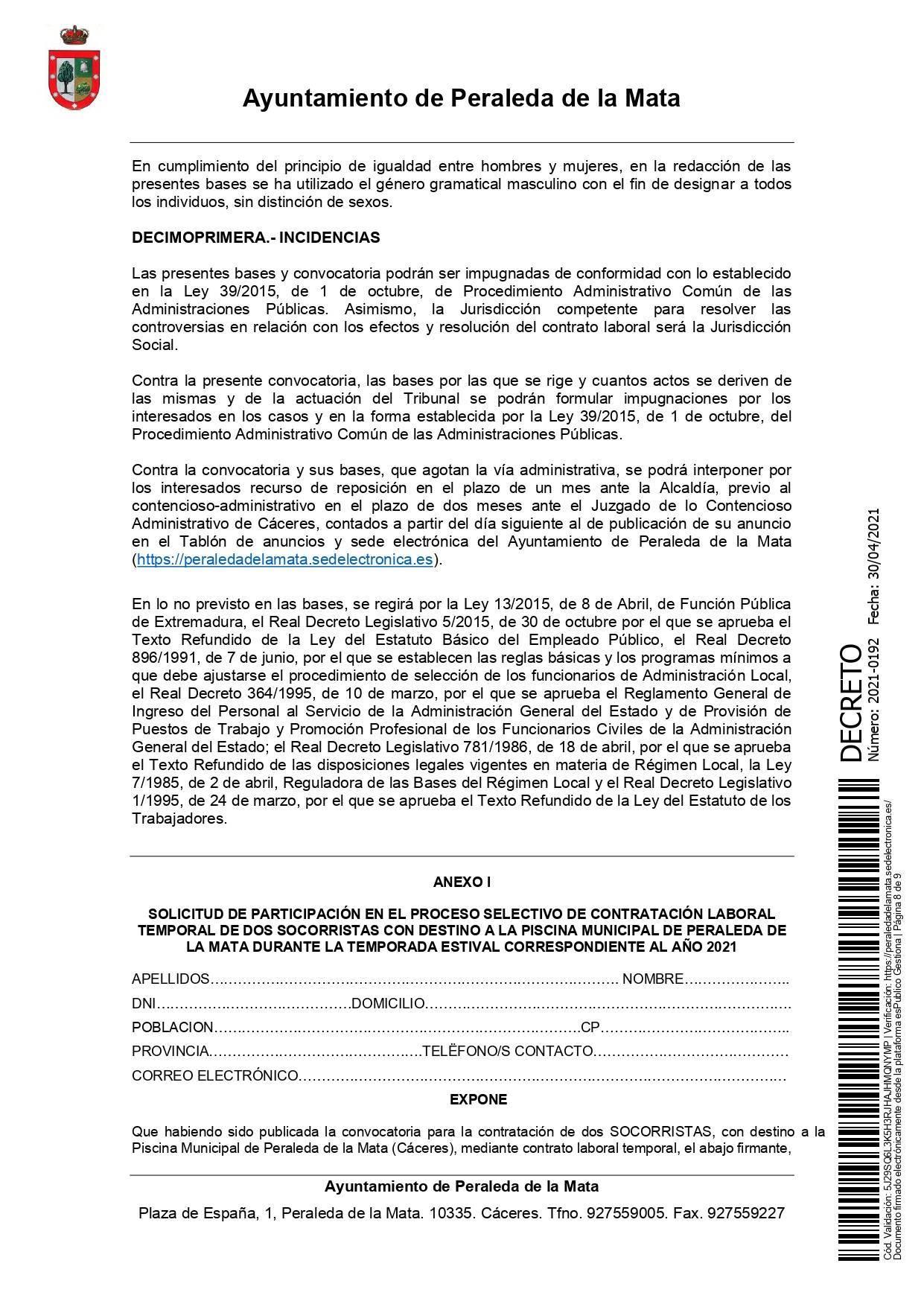 2 socorristas para la piscina municipal (2021) - Peraleda de la Mata (Cáceres) 8
