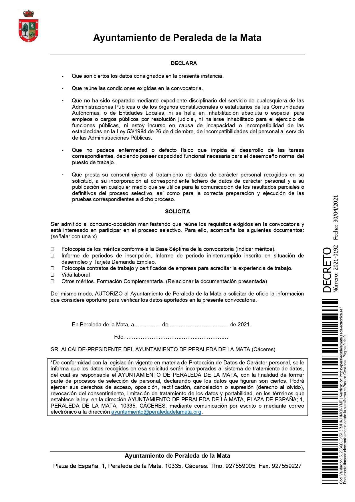 2 socorristas para la piscina municipal (2021) - Peraleda de la Mata (Cáceres) 9
