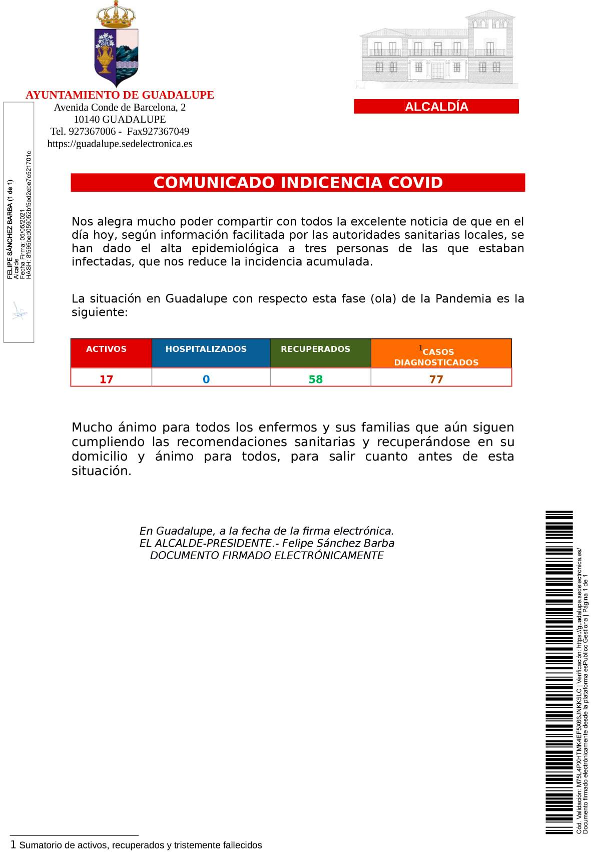3 altas de COVID-19 (mayo 2021) - Guadalupe (Cáceres)