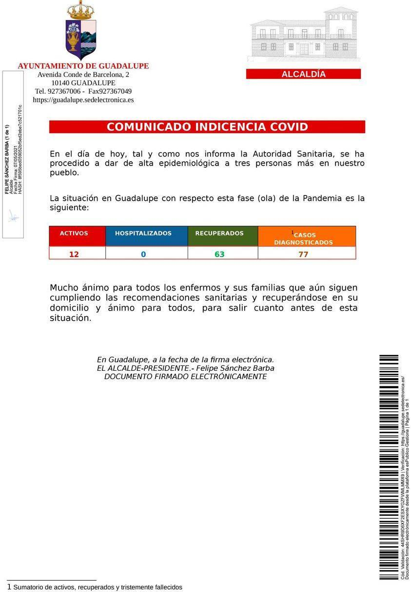 3 nuevas altas de COVID-19 (mayo 2021) - Guadalupe (Cáceres)