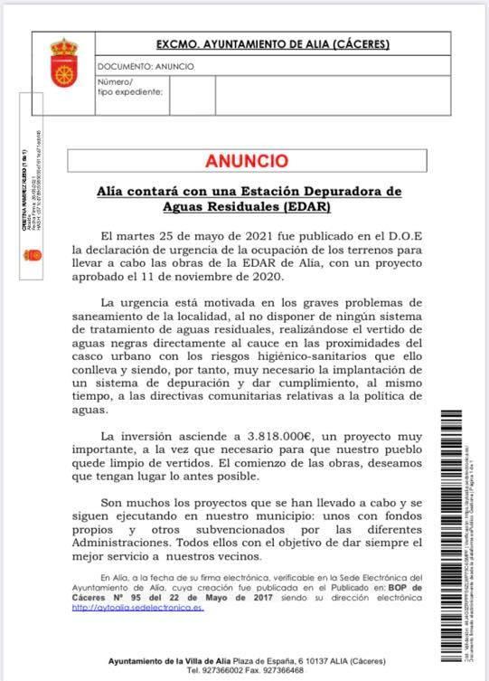 Alía (Cáceres) contará con una estación depuradora de aguas residuales (2021)