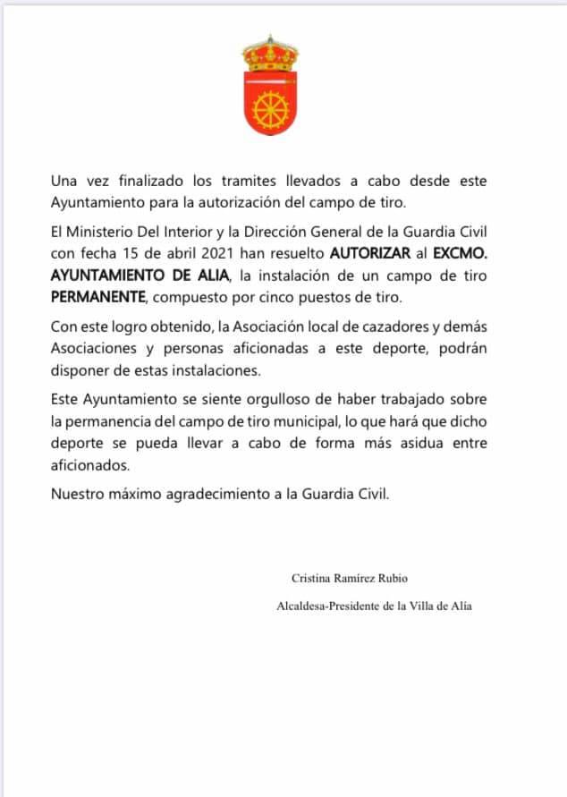 Concedida la instalación de un campo de tiro permanente (2021) - Alía (Cáceres)
