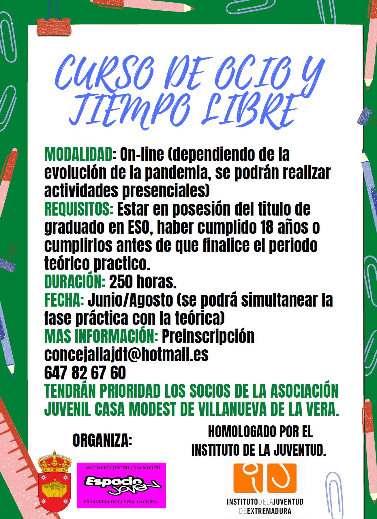 Curso de ocio y tiempo libre (2021) - Villanueva de la Vera (Cáceres)