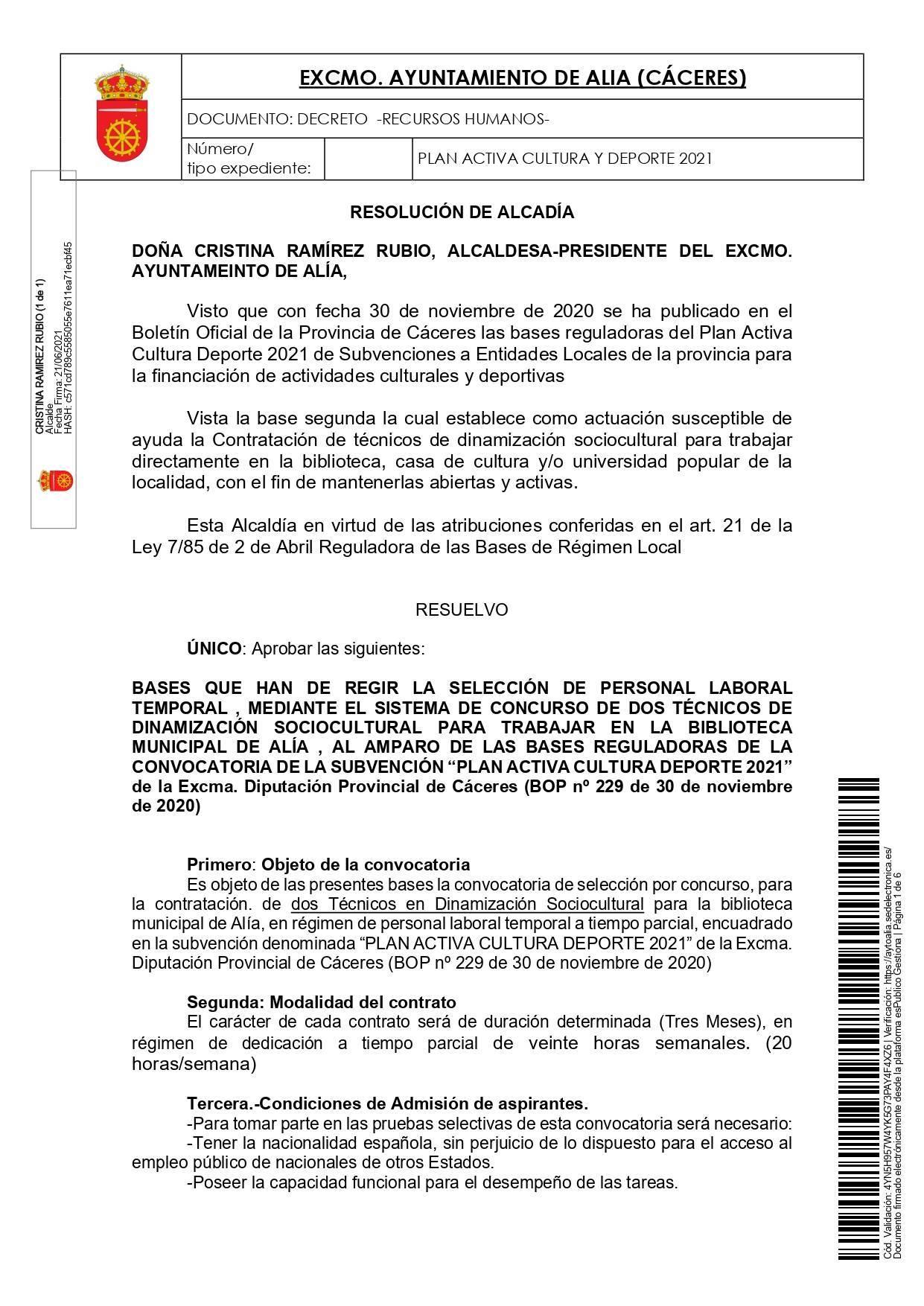 2 técnicos de dinamización sociocultural (2021) - Alía (Cáceres) 1
