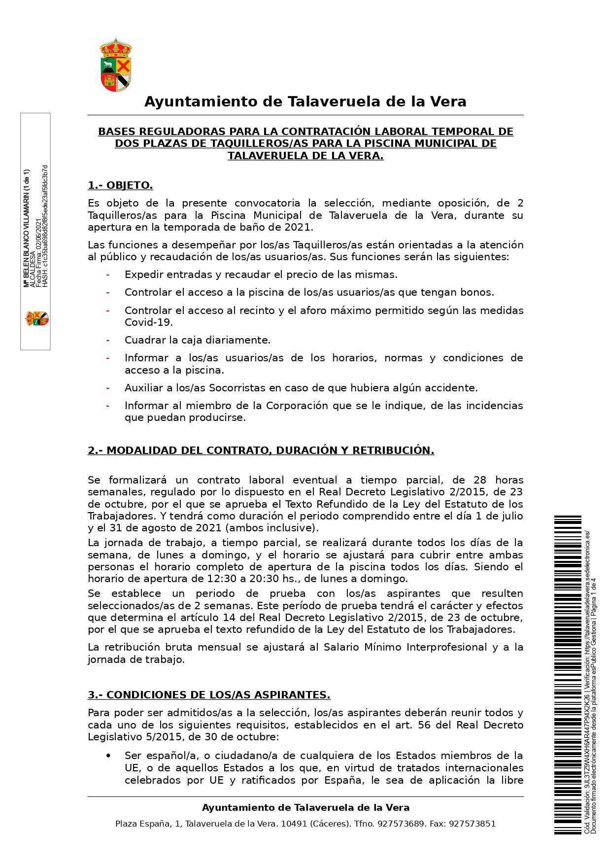 2 taquilleros-as para la piscina municipal (2021) - Talaveruela de la Vera (Cáceres) 1