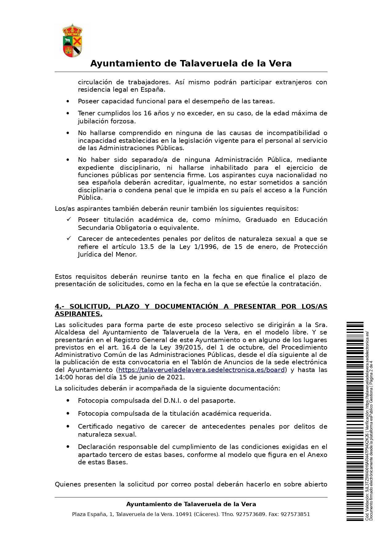 2 taquilleros-as para la piscina municipal (2021) - Talaveruela de la Vera (Cáceres) 2