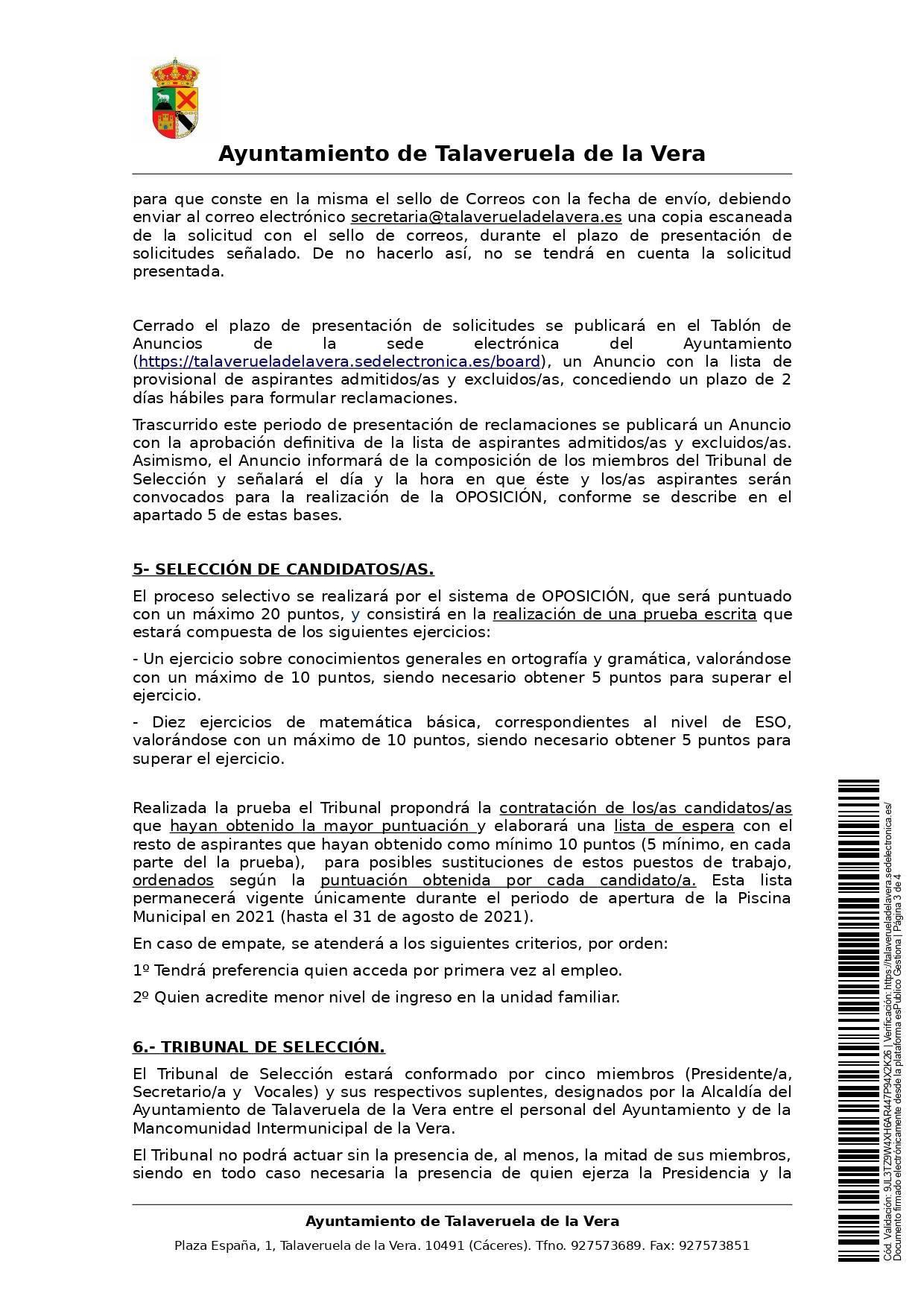2 taquilleros-as para la piscina municipal (2021) - Talaveruela de la Vera (Cáceres) 3