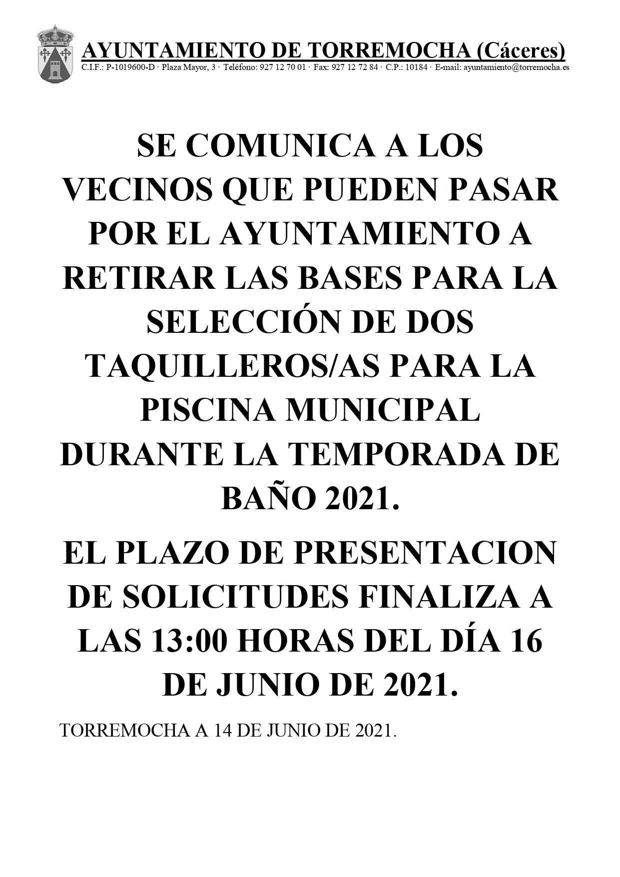 2 taquilleros-as para la piscina municipal (2021) - Torremocha (Cáceres)