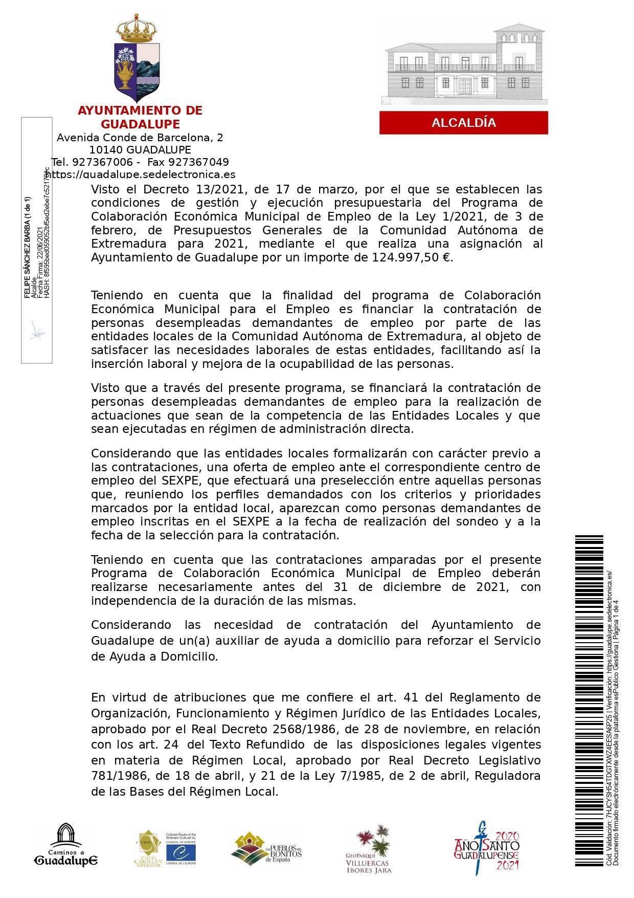 Auxiliar de ayuda a domicilio (2021) - Guadalupe (Cáceres) 1