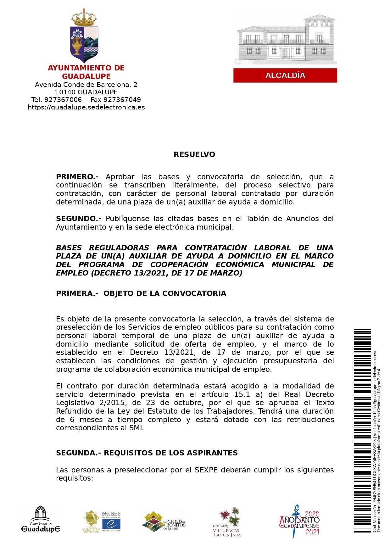 Auxiliar de ayuda a domicilio (2021) - Guadalupe (Cáceres) 2