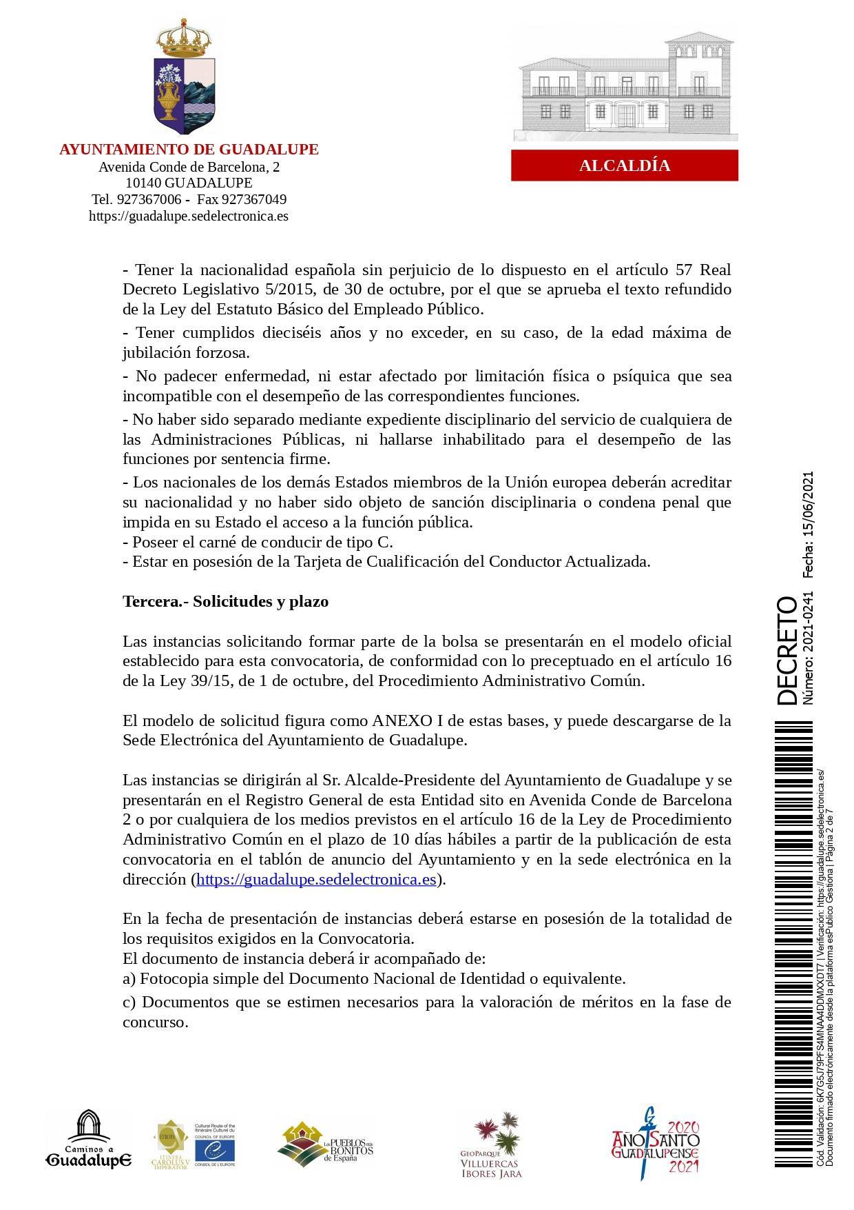 Bolsa de conductores-operarios de recogida de RSU (2021) - Guadalupe (Cáceres) 2