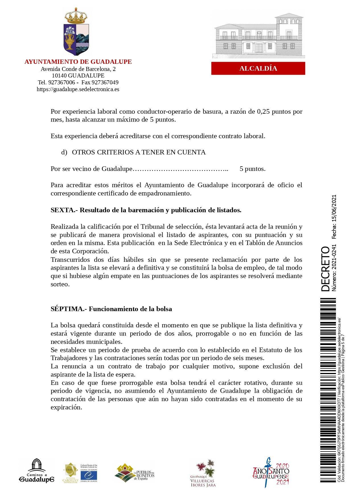 Bolsa de conductores-operarios de recogida de RSU (2021) - Guadalupe (Cáceres) 5