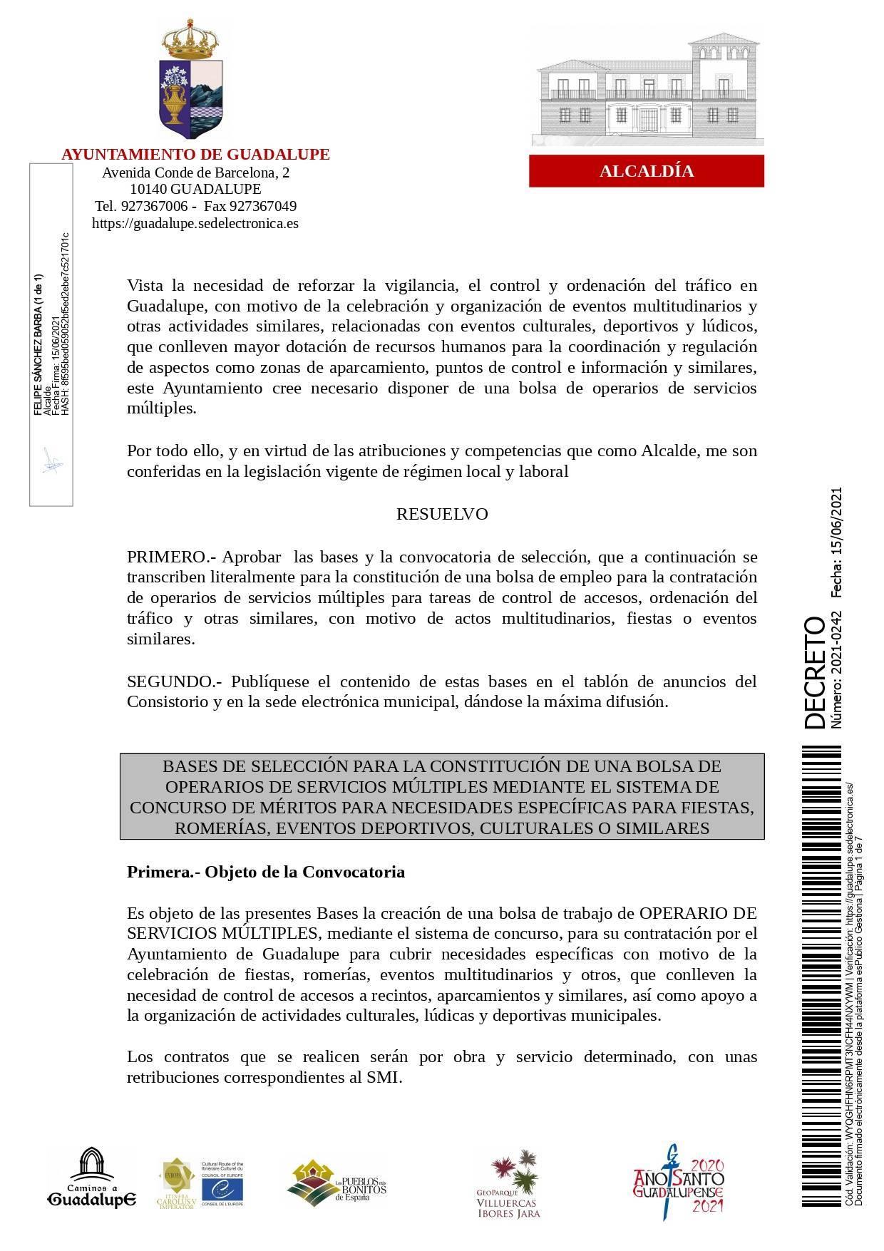 Bolsa de operarios de servicios múltiples para eventos (2021) - Guadalupe (Cáceres) 1