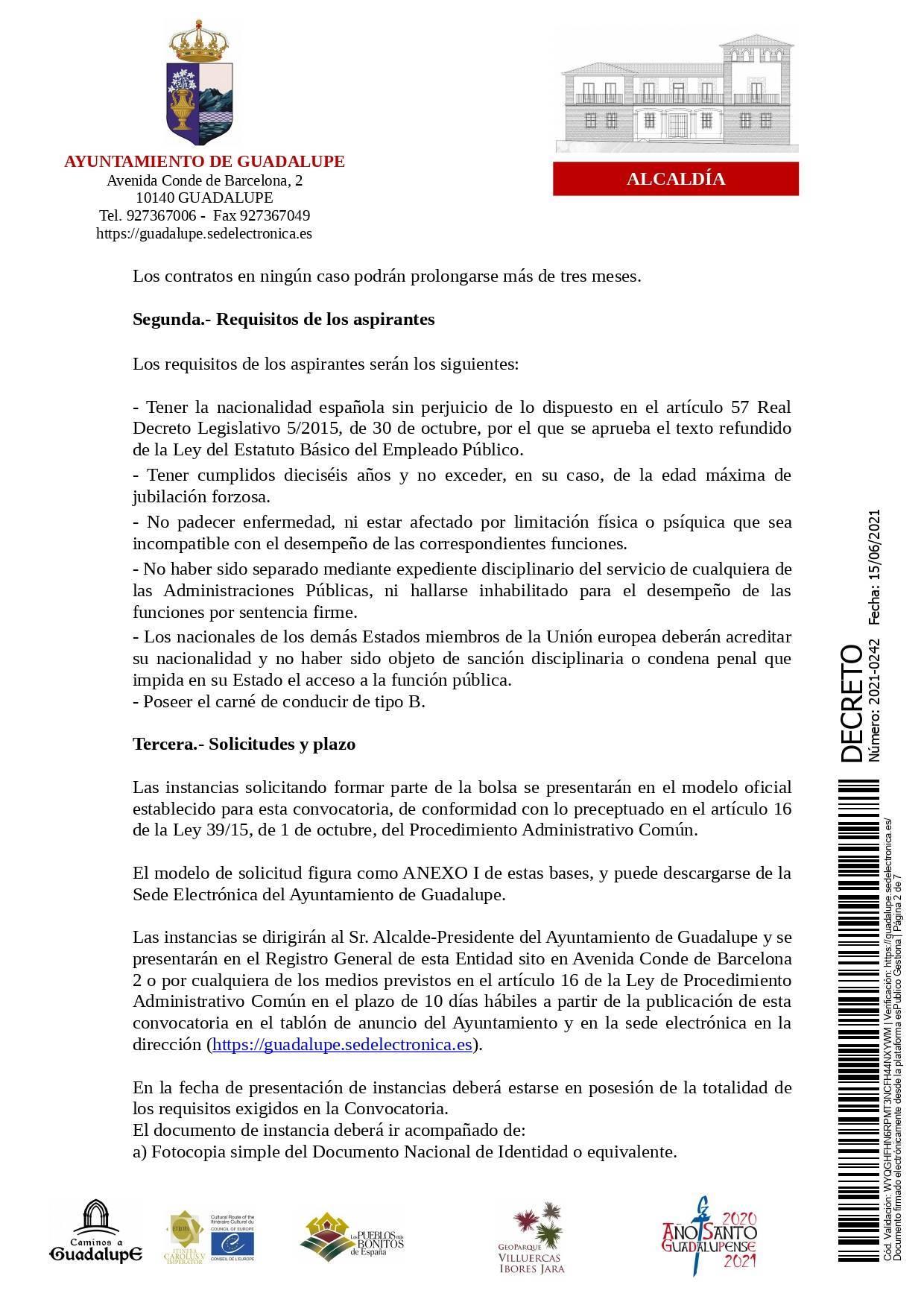 Bolsa de operarios de servicios múltiples para eventos (2021) - Guadalupe (Cáceres) 2
