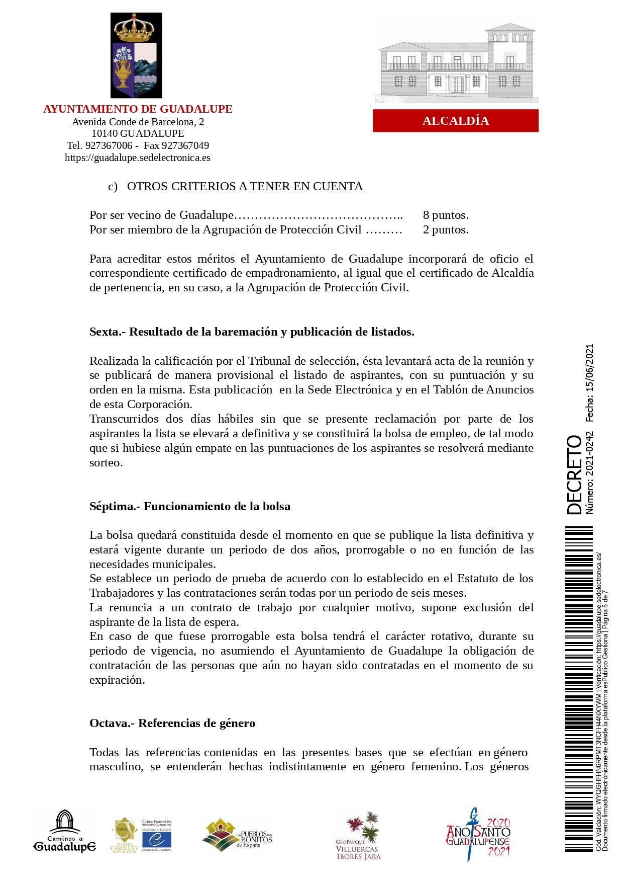 Bolsa de operarios de servicios múltiples para eventos (2021) - Guadalupe (Cáceres) 5