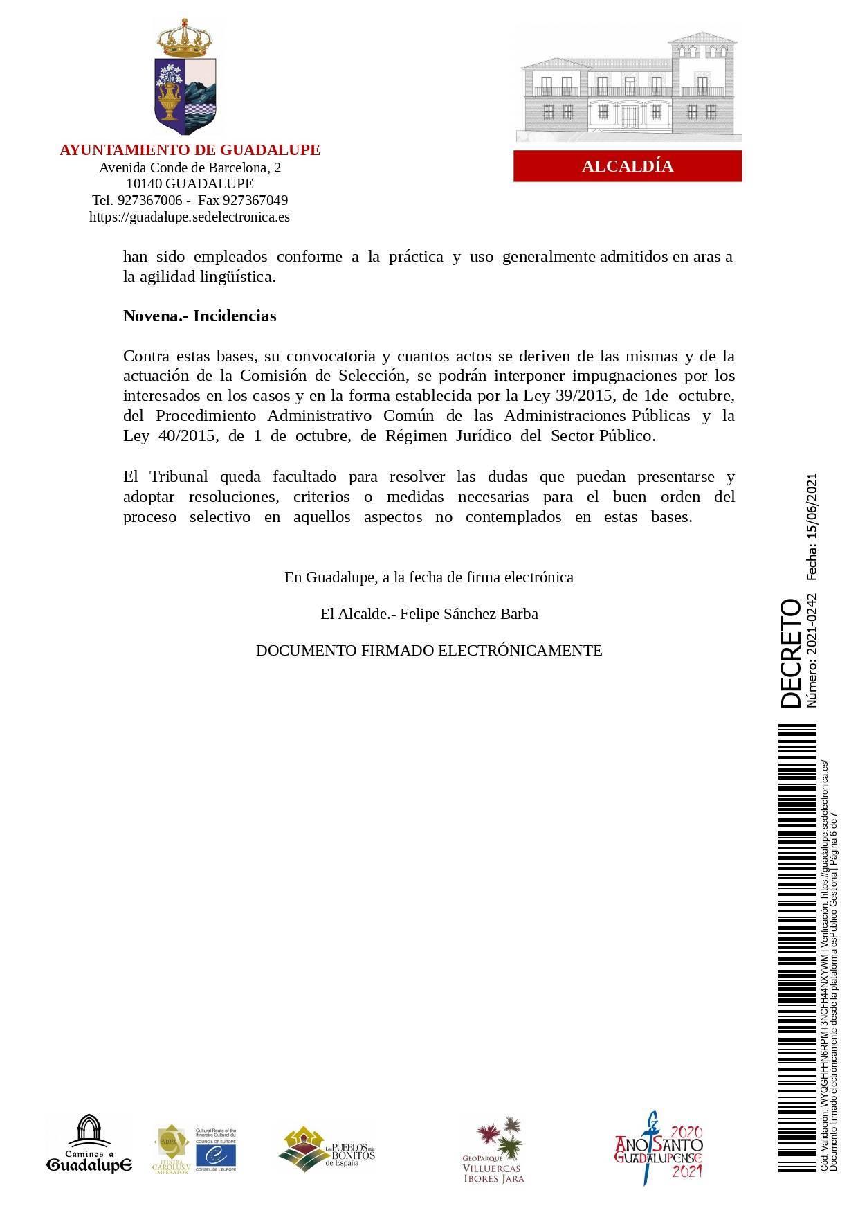 Bolsa de operarios de servicios múltiples para eventos (2021) - Guadalupe (Cáceres) 6