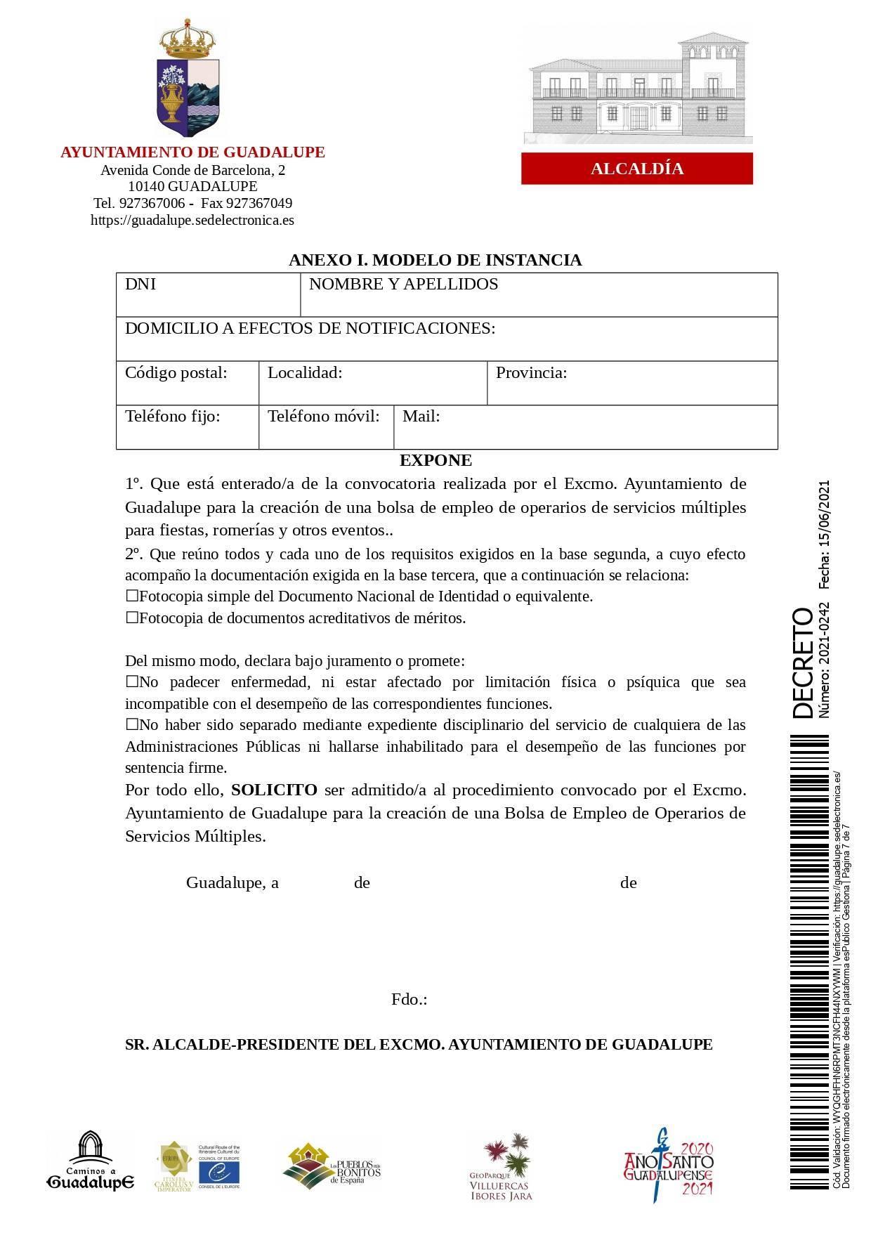 Bolsa de operarios de servicios múltiples para eventos (2021) - Guadalupe (Cáceres) 7