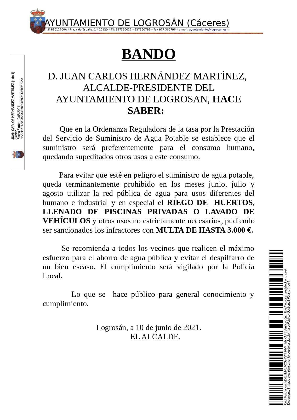 Consumo responsable de agua durante el verano (2021) - Logrosán (Cáceres)