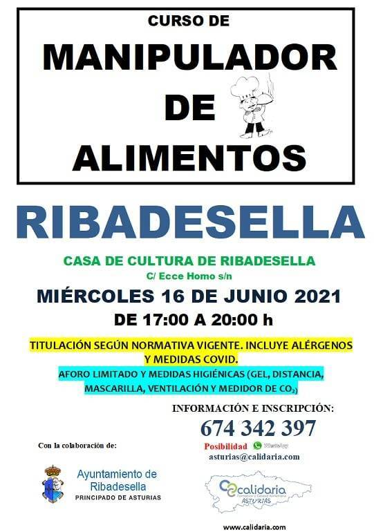 Curso de manipulador de alimentos (2021) - Ribadesella (Asturias)
