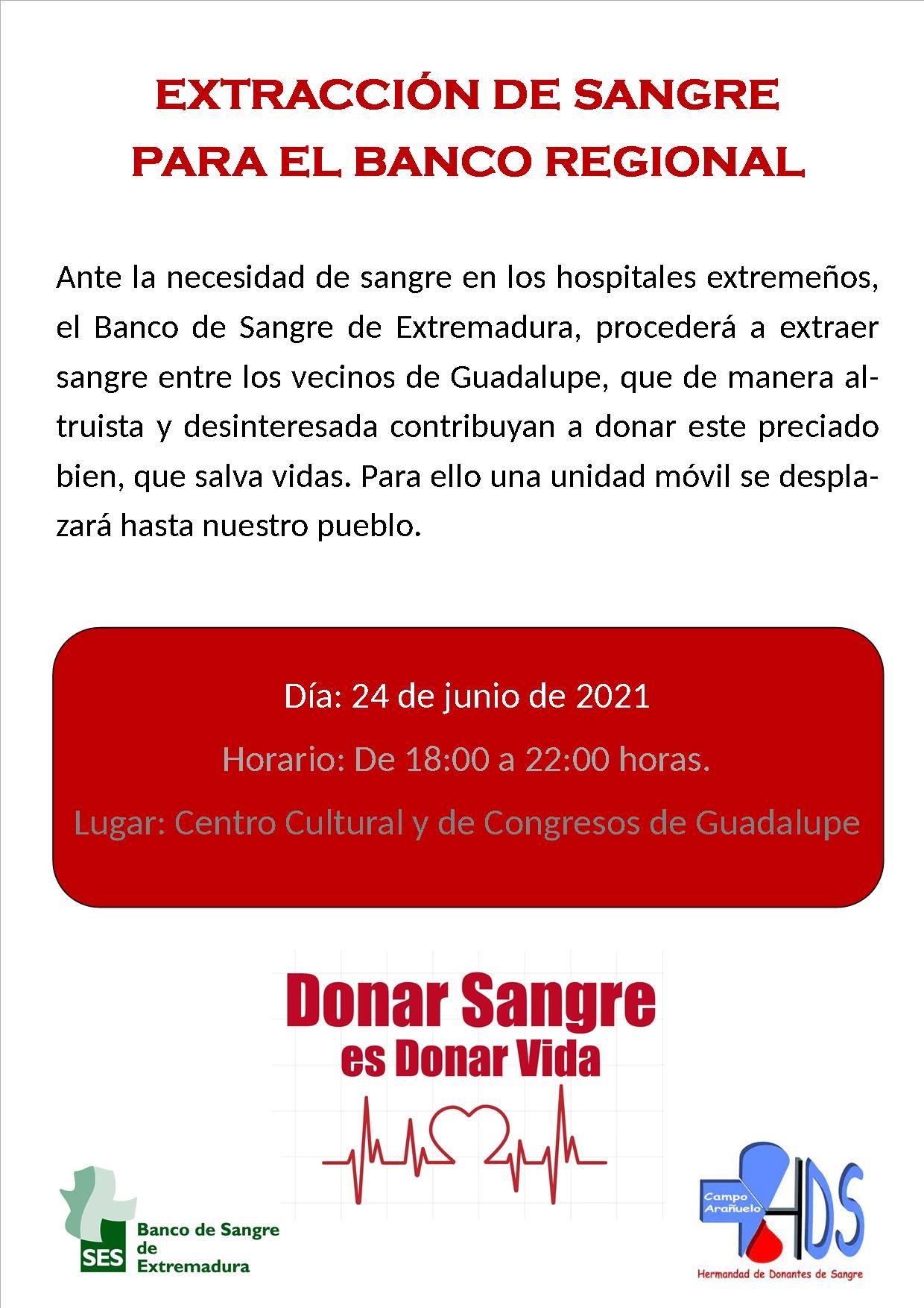 Donación de sangre (junio 2021) - Guadalupe (Cáceres)