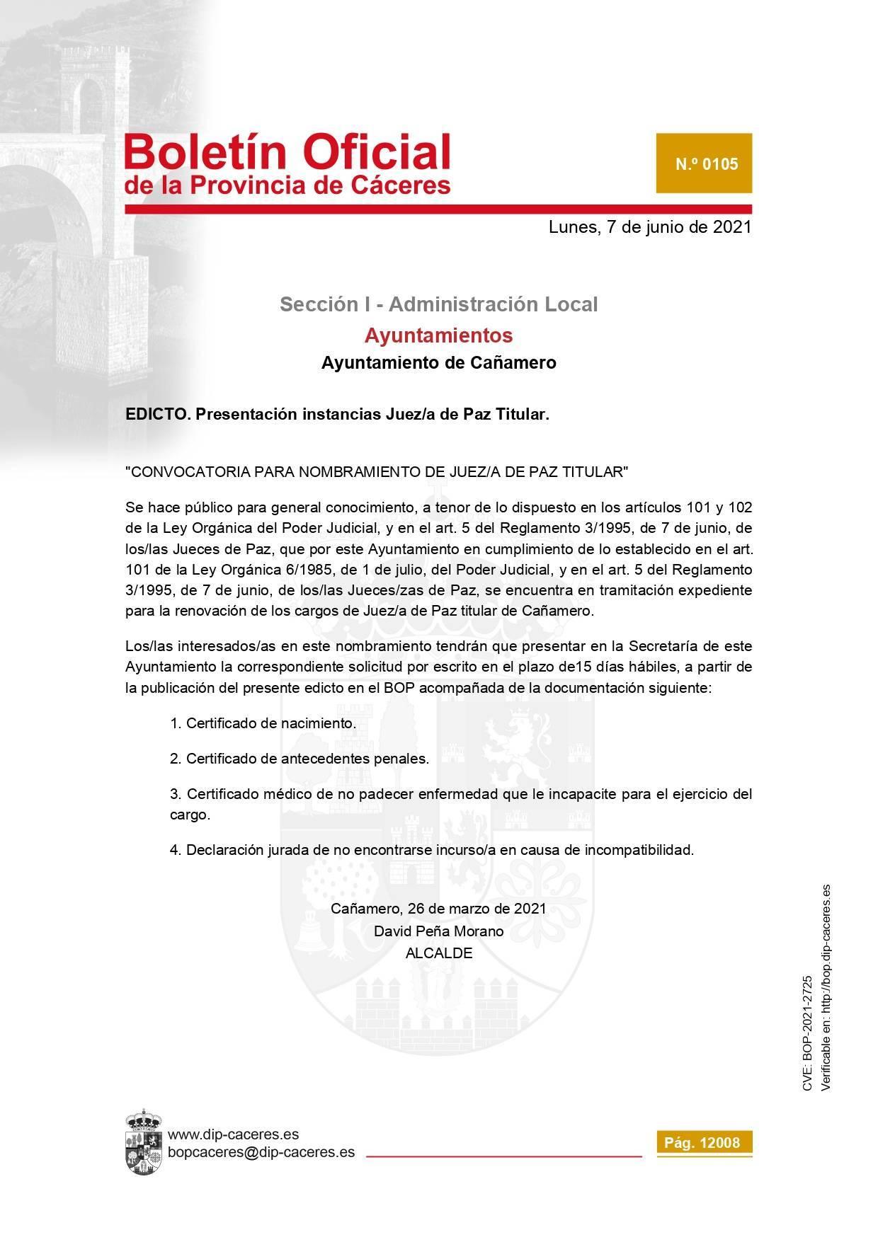 Juez-a de paz (2021) - Cañamero (Cáceres)
