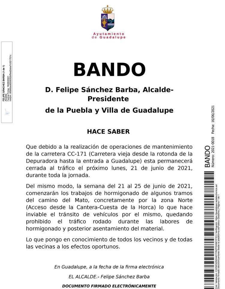 La carretera CC-171 y el camino del Mato se cerrarán al tráfico (junio 2021) - Guadalupe (Cáceres)