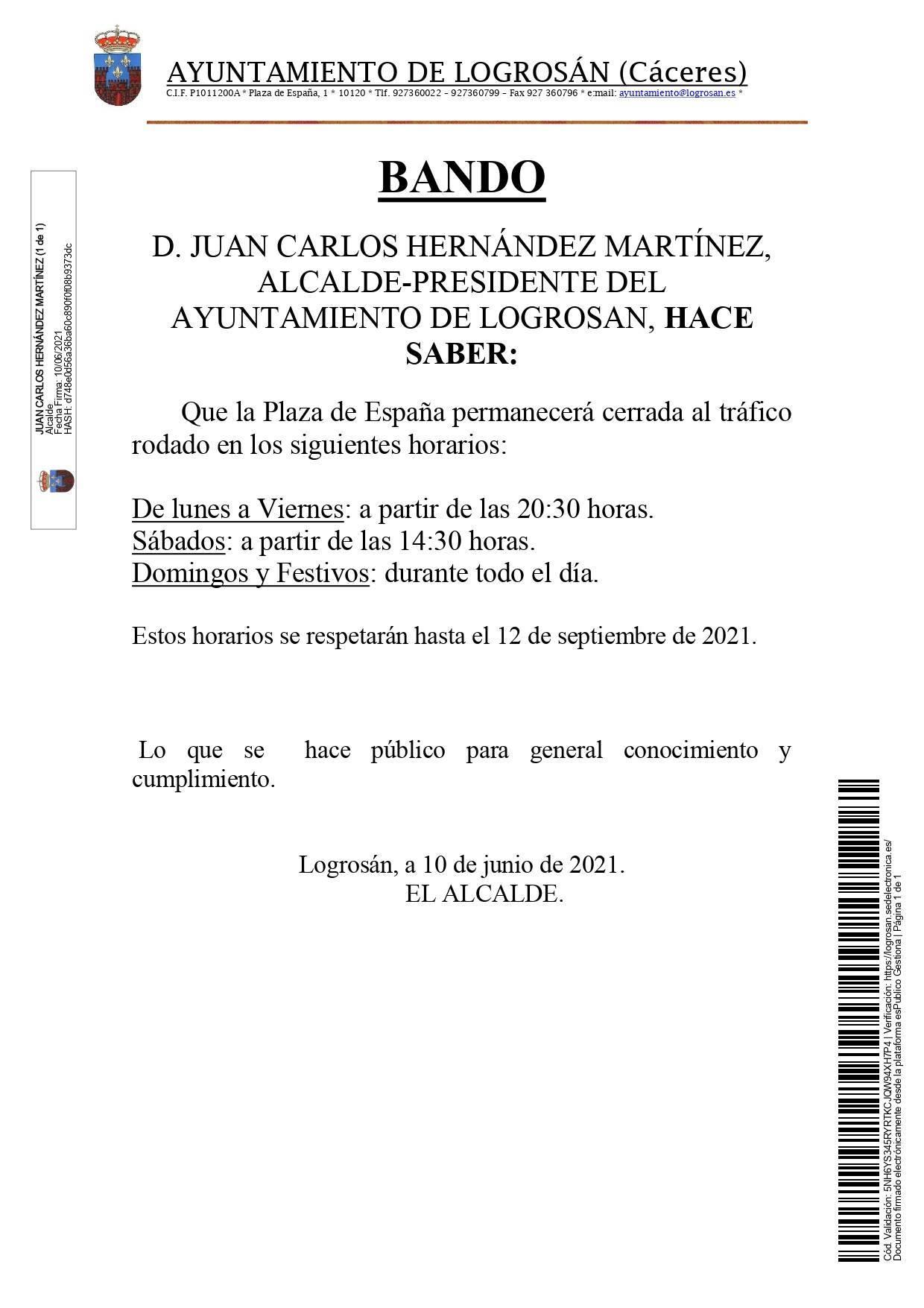 La plaza de España se cerrará parcialmente al tráfico rodado durante el verano (2021) - Logrosán (Cáceres)