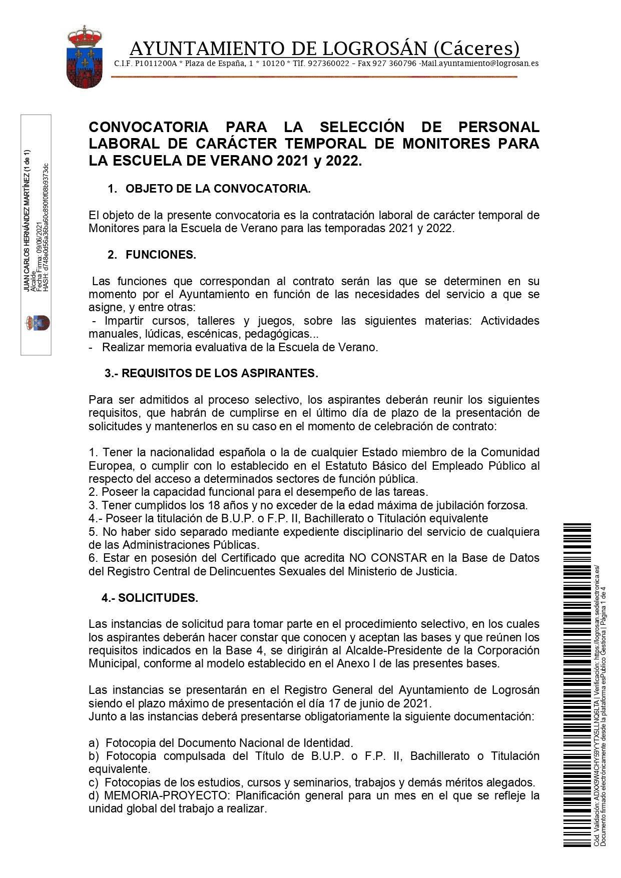 Monitores para la escuela de verano (2021-2022) - Logrosán (Cáceres) 1