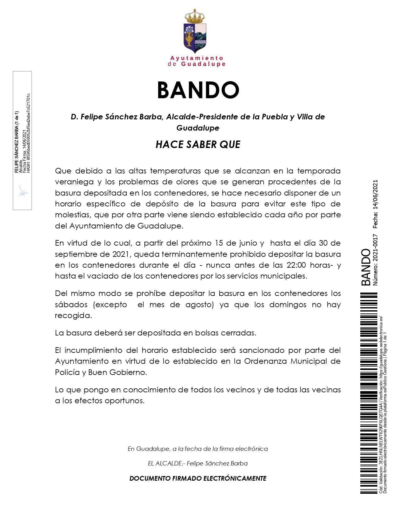 Nuevo horario de verano para depositar la basura (2021) - Guadalupe (Cáceres)