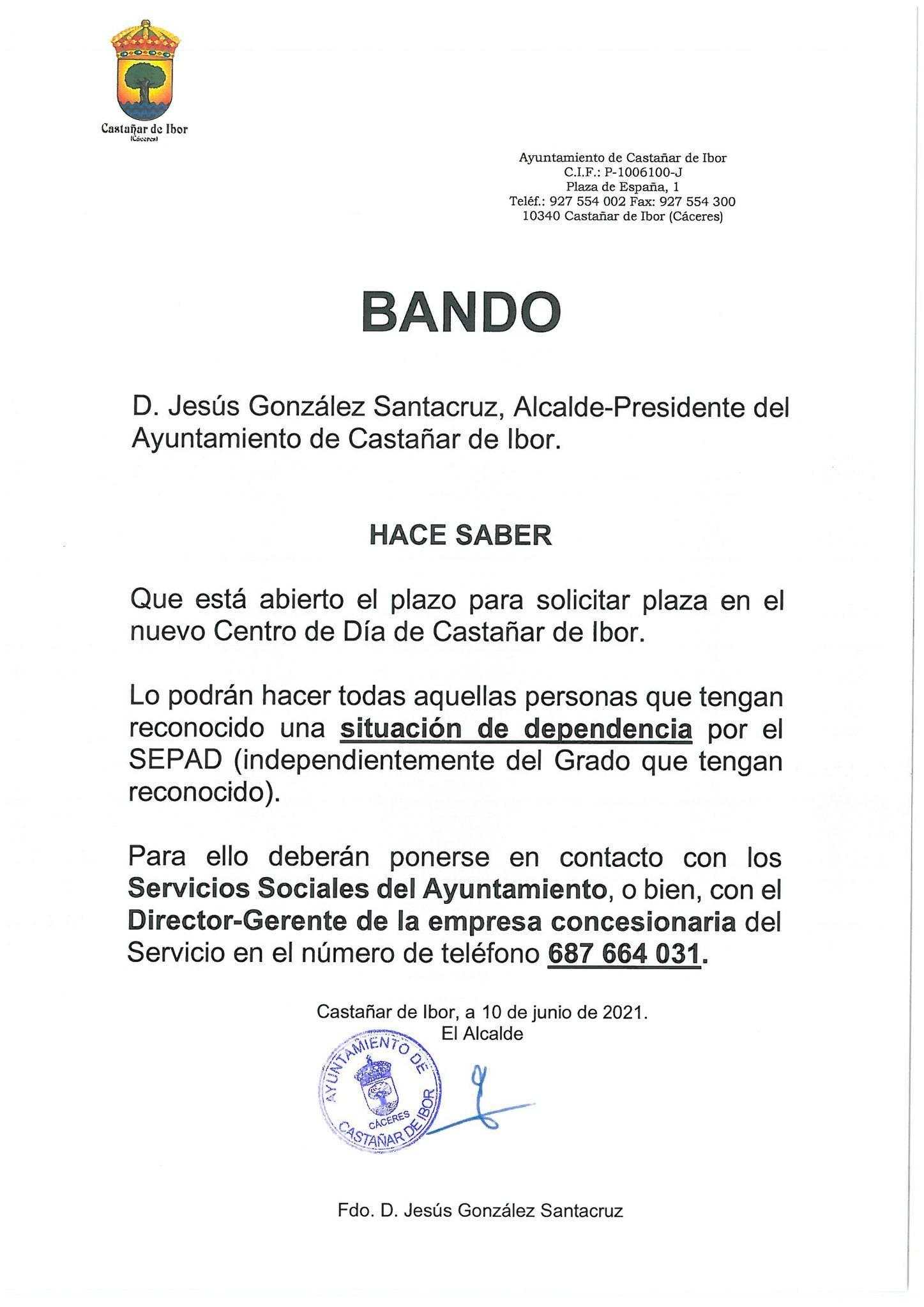 Se abre el plazo para solicitar plaza en el centro de día (2021) - Castañar de Ibor (Cáceres)