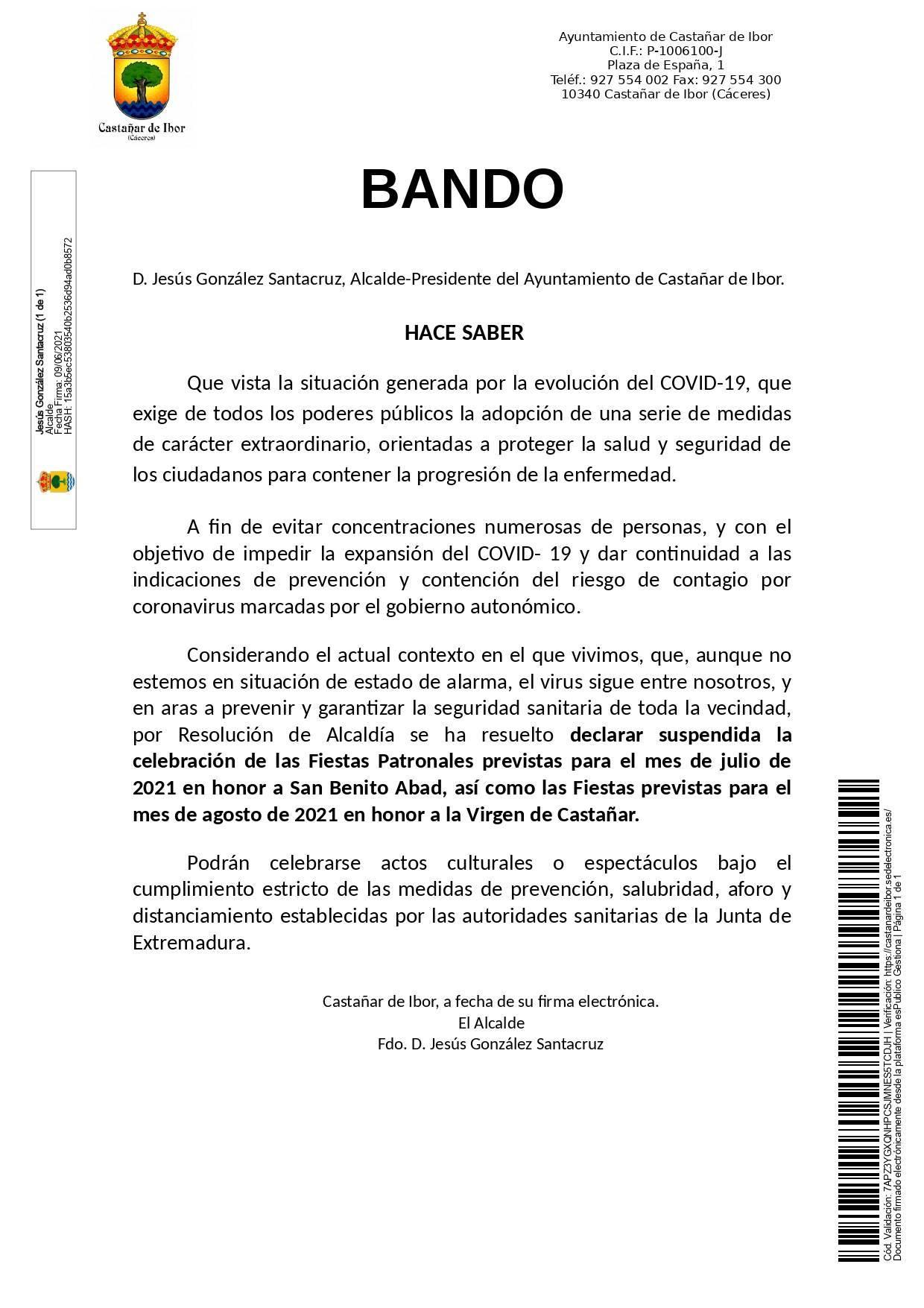 Se suspenden las fiestas de verano (2021) - Castañar de Ibor (Cáceres)
