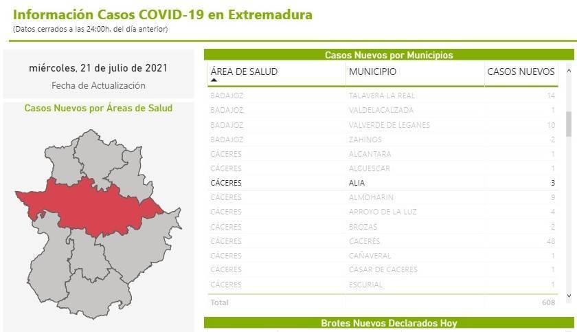 3 nuevos casos positivos de COVID-19 (julio 2021) - Alía (Cáceres)