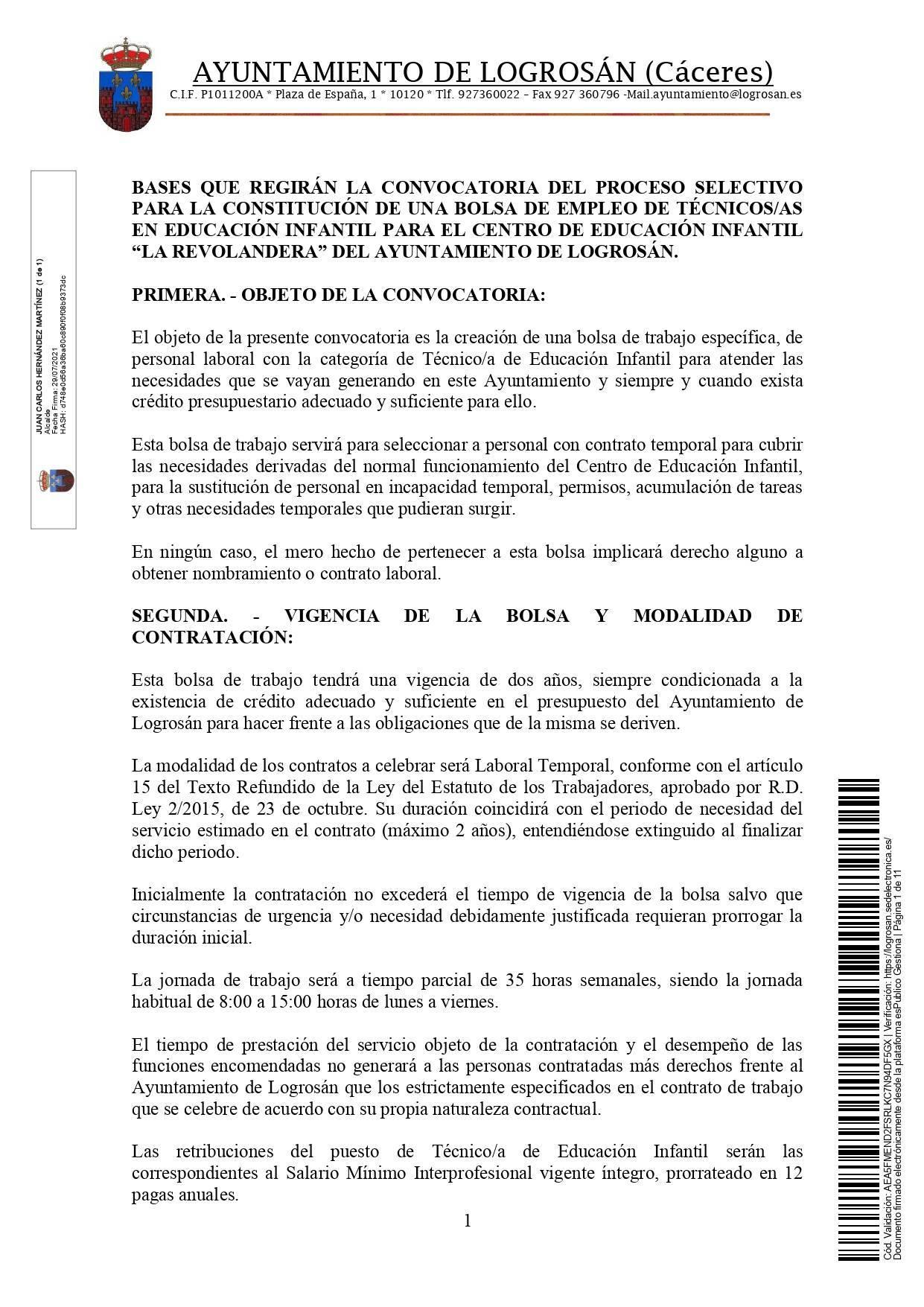 Bolsa de técnicos-as en educación infantil (2021) - Logrosán (Cáceres) 1