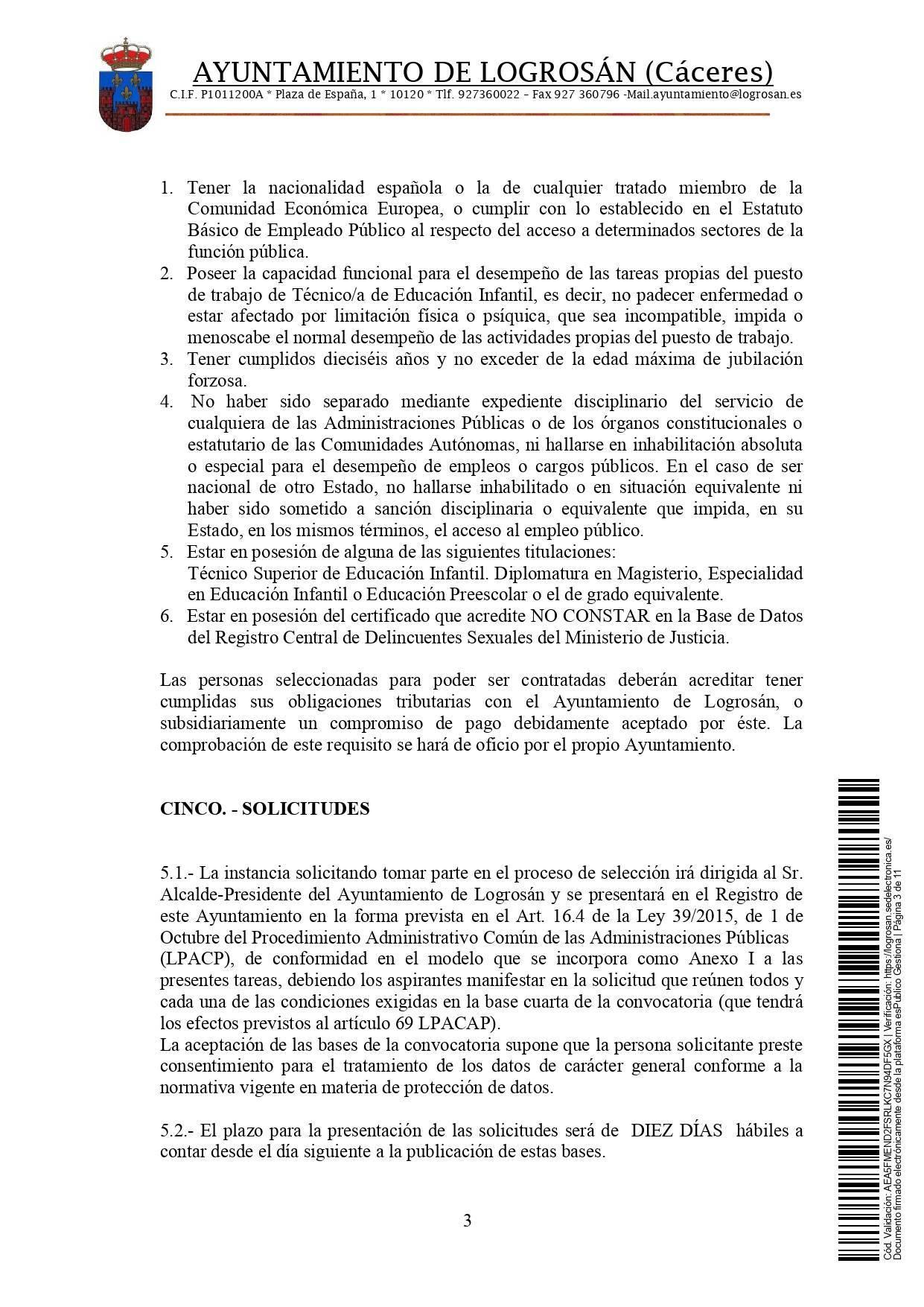 Bolsa de técnicos-as en educación infantil (2021) - Logrosán (Cáceres) 3