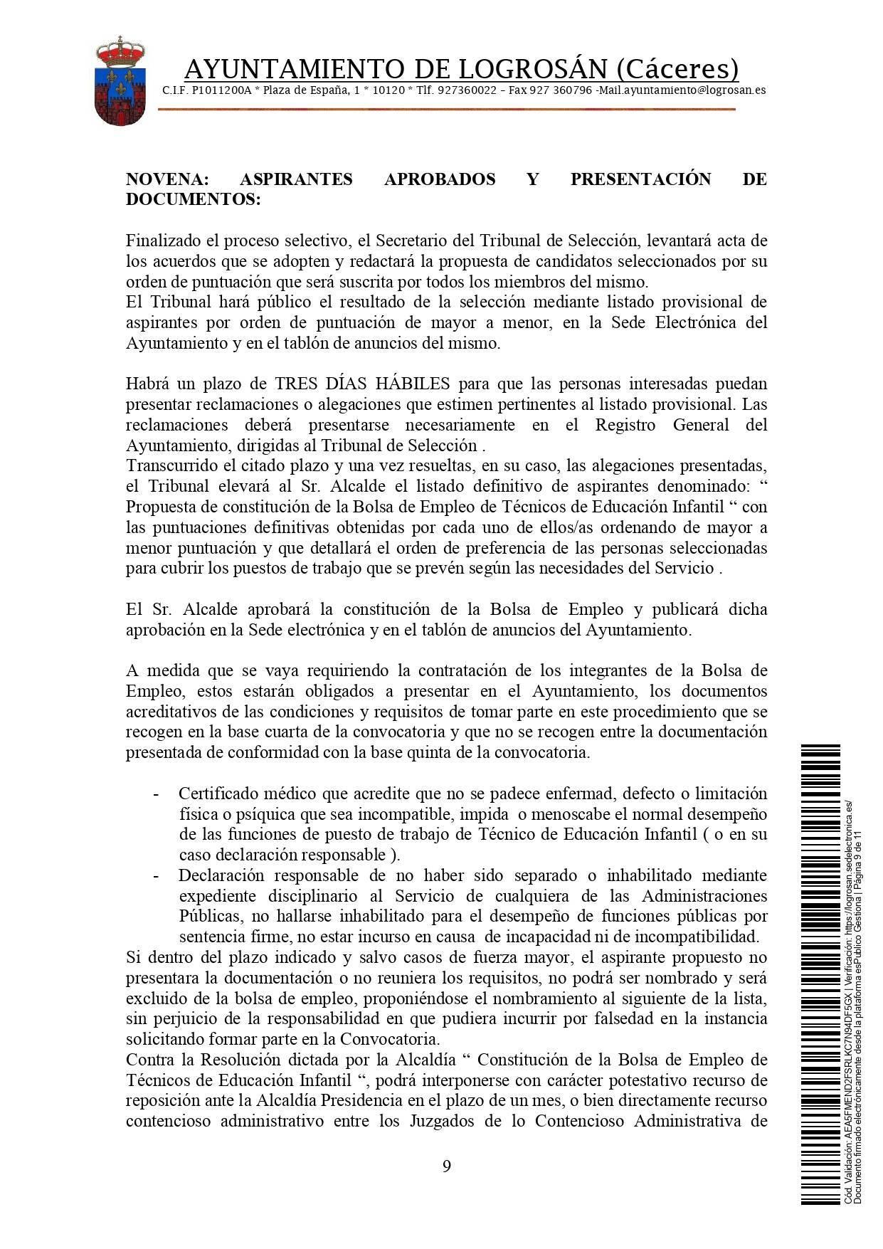 Bolsa de técnicos-as en educación infantil (2021) - Logrosán (Cáceres) 9