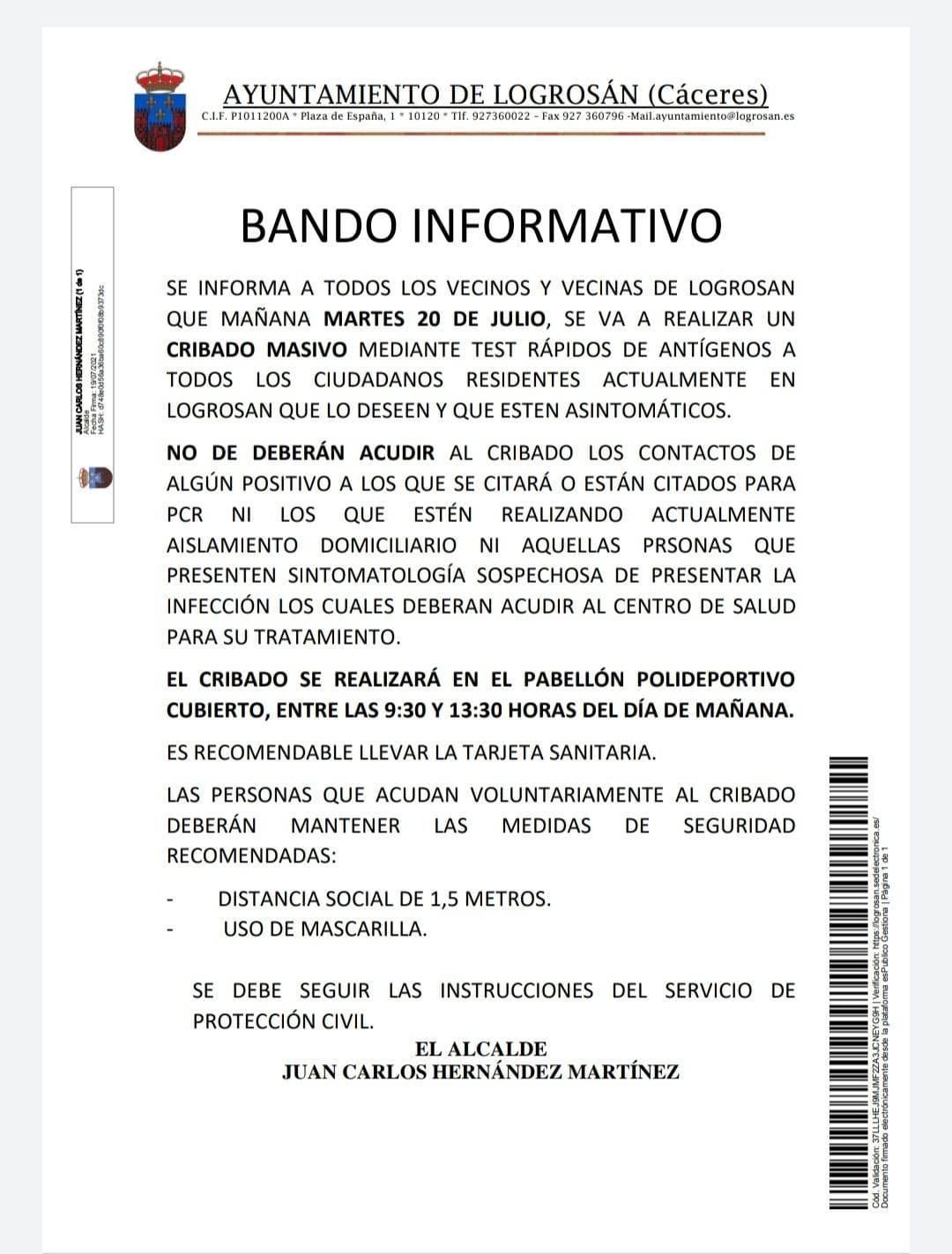 Cribado masivo de COVID-19 (julio 2021) - Logrosán (Cáceres)