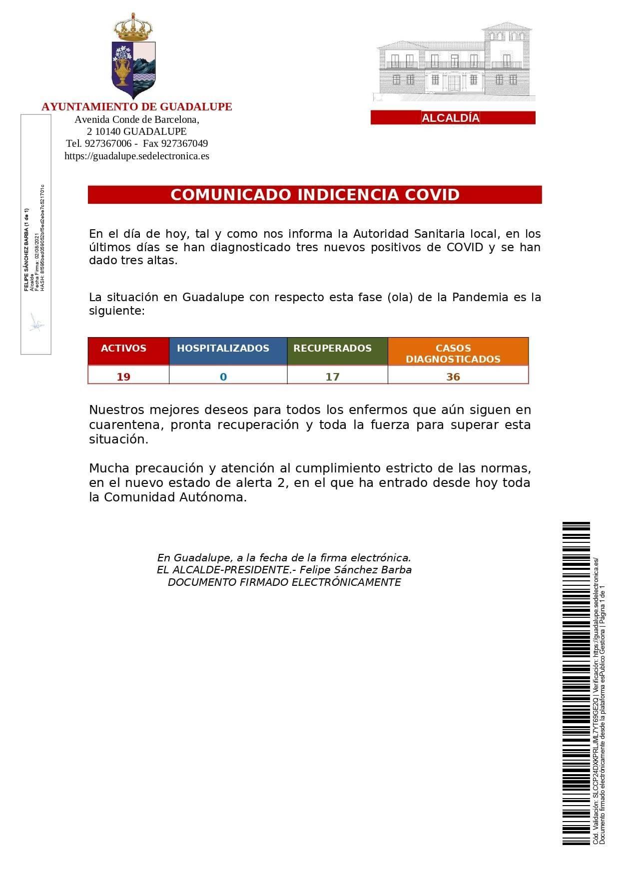 3 nuevos casos positivos y 3 nuevas altas de COVID-19 (agosto 2021) - Guadalupe (Cáceres)