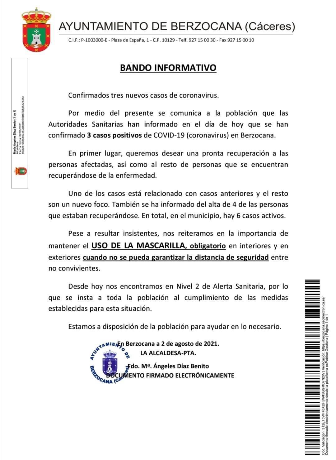 6 casos positivos activos de COVID-19 (agosto 2021) - Berzocana (Cáceres)