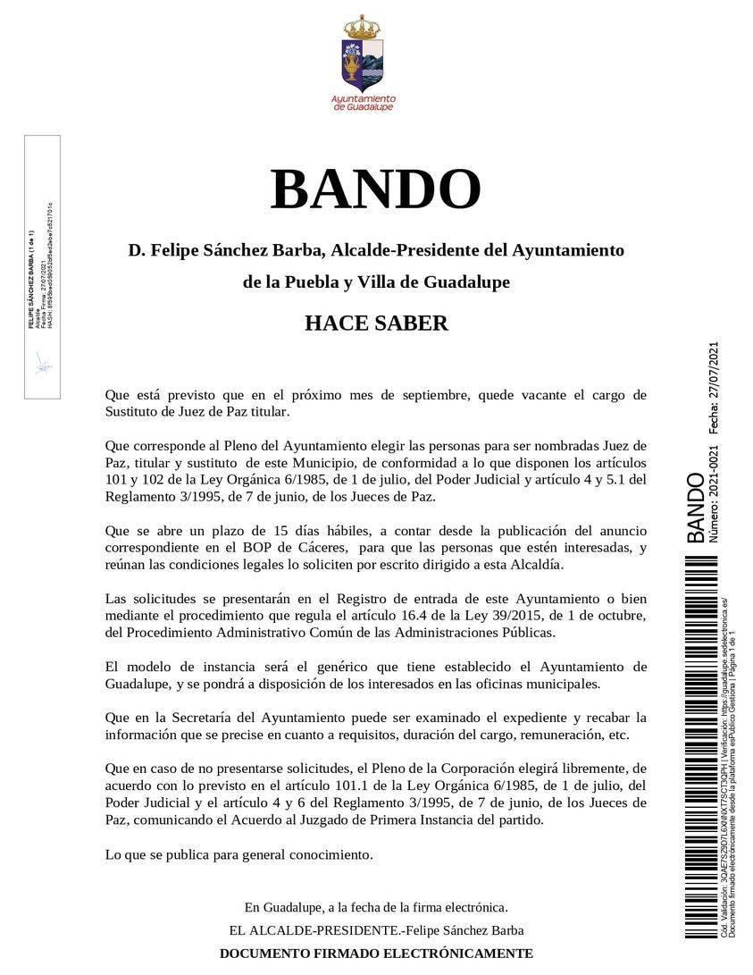 Sustituto de juez de paz titular (2021) - Guadalupe (Cáceres) 1