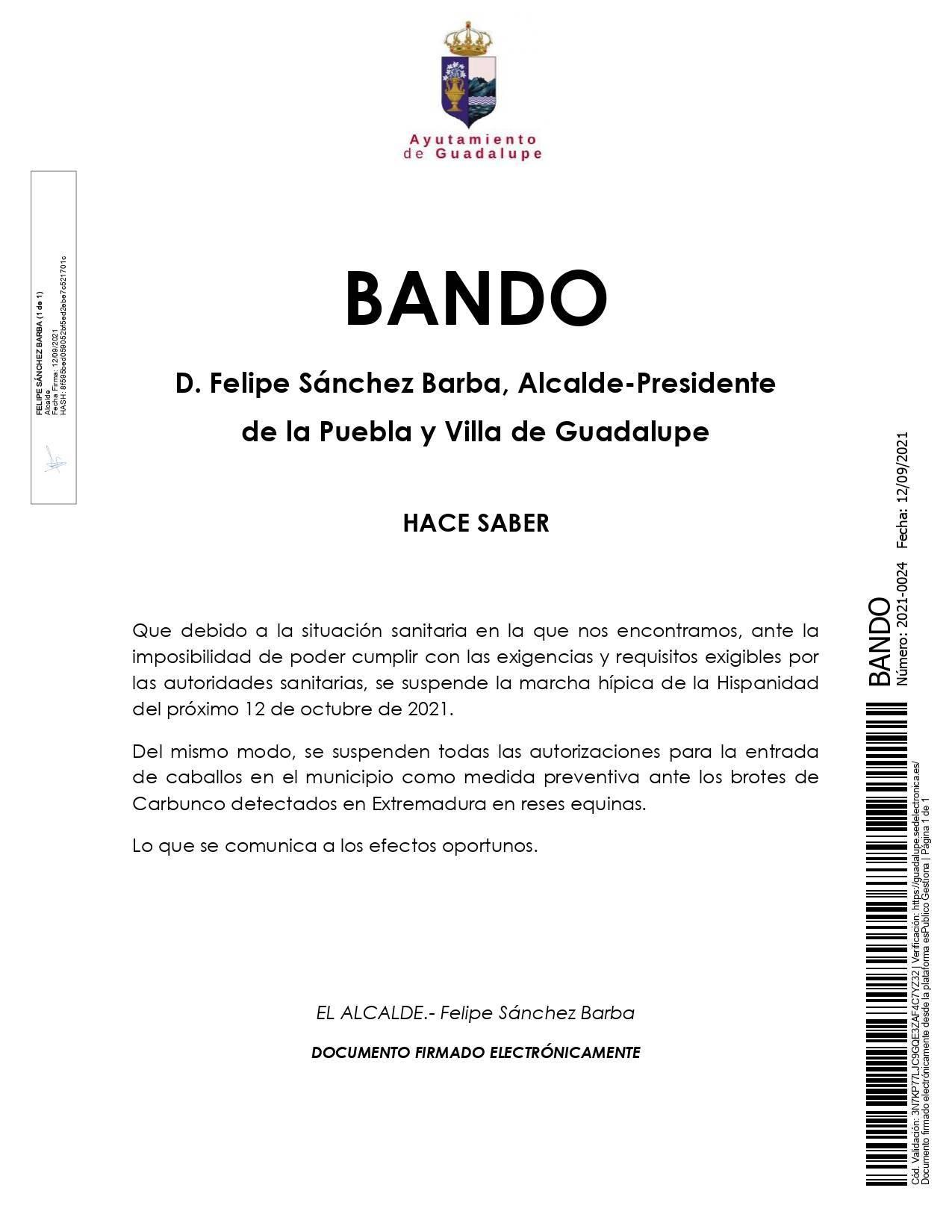 Suspendida la marcha hípica de la Hispanidad (2021) - Guadalupe (Cáceres)